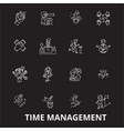 time management editable line icons set on vector image vector image