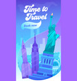 time to travel typography banner visit new york vector image vector image