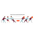 tug war banner cartoon diverse people pulling the vector image