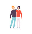 two young men hugging happy meeting people vector image vector image