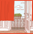 vintage interior old apartment view at open vector image