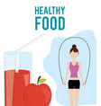 woman with jumping rope and juice apple healthy vector image
