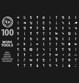 work tools icons paper set vector image