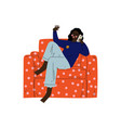 young african american woman sitting in armchair vector image vector image