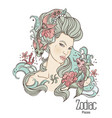 zodiac pisces as girl vector image