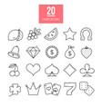 casino line icons set slot-machine symbols vector image