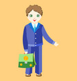 boy schoolboy in uniform with a green girl vector image
