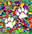 animal tracks sign white icon on colorful vector image