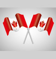 canada flags crossed emblem vector image