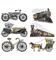 car motorbike horse-drawn carriage locomotive vector image vector image