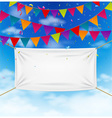 Colorful bunting flags with textile banner vector image vector image