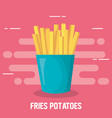 delicious fries potatoes fast food icon vector image vector image