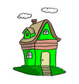doodle green house with clouds vector image