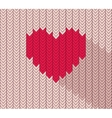 flat heart icon in herringbone pattern vector image vector image