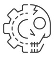 gear skull icon outline style vector image vector image