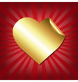 Gold Hearts Label With Red Sunburst vector image vector image