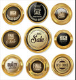 golden badges retro vintage collection vector image vector image