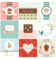 greeting cards and cupcakes set vector image vector image