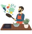 guy tossing ingredients vegetarian dish male vector image vector image
