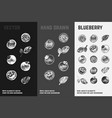 hand drawn blueberry icons organic food vector image vector image