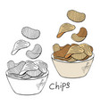 hand drawn chips collection black and white and vector image vector image