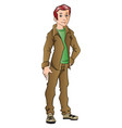 handsome young man with hand on hip vector image vector image