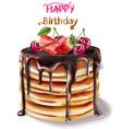 happy birthday cake watercolor chocolate vector image vector image