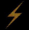 hexagon halftone lightning icon vector image vector image