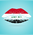 iraq flag lipstick on the lips isolated on a white vector image