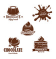 isolated chocolate candy desserts splash vector image vector image