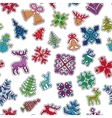 Knitted Christmas Patch Pattern vector image vector image
