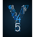 Letter Y font from numbers vector image vector image