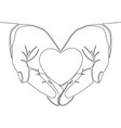 one continuous line hand holding heart concept vector image vector image