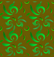 pattern of green doodles and curls in floral vector image