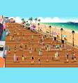 people in a boardwalk scene vector image