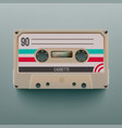 realistic cassette isolated on grey background vector image