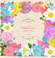 romantic invitation card with different spring vector image vector image