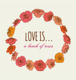 round floral frame cute romanticl rose wreath vector image