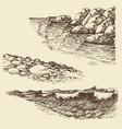 sea and ocean waves sea shore design elements vector image