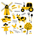 set agricultural and farm tools animals vector image vector image