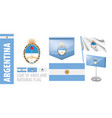 set coat arms and national flag vector image vector image
