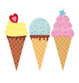 set colorful tasty isolated ice cream cones vector image vector image