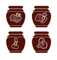set of monochrome icons of berry jam on a white vector image vector image