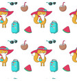 summer seamless pattern with funny fox vector image vector image