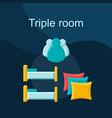 triple room flat concept icon vector image vector image