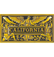 Vintage California Label Plaque Black and Gold vector image vector image