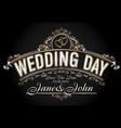 vintage style wedding invitation template vector image vector image