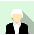 Woman with gray hair in a black suit icon vector image