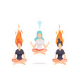 women meditating and relaxing in lotus position vector image vector image