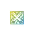 x maze letter logo icon design vector image
